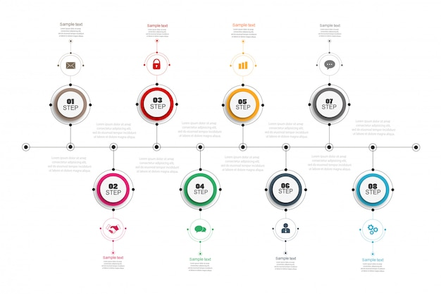 Timeline infographics design with 8 options