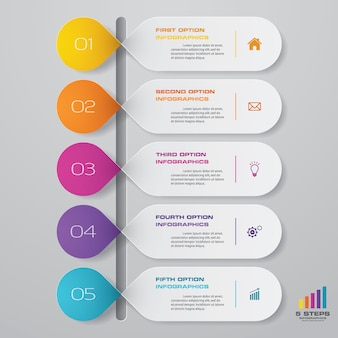Timeline infographics element with vertical dimension