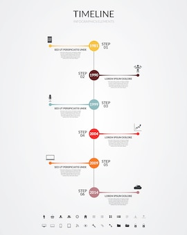 Timeline infographics, elements and icons. vector Premium Vector