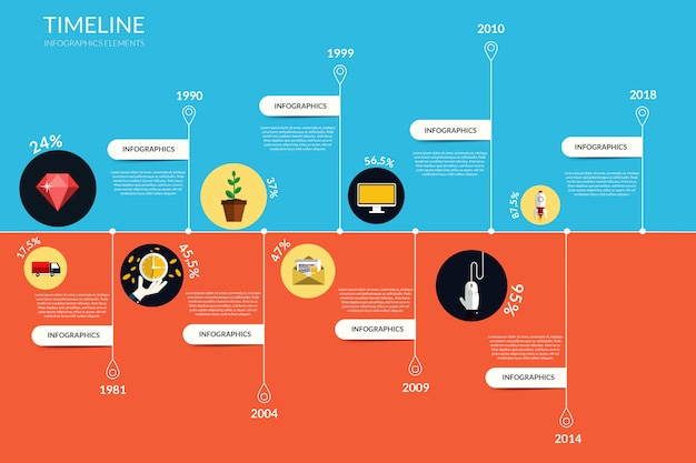 Timeline infographics, elements and icons.