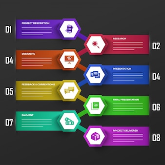 Timeline infographics layout with 8 steps.