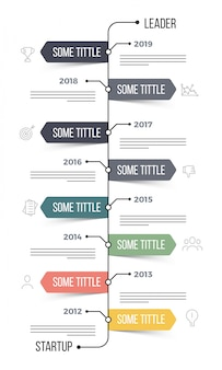 Timeline infographics layout with eight (8) steps.