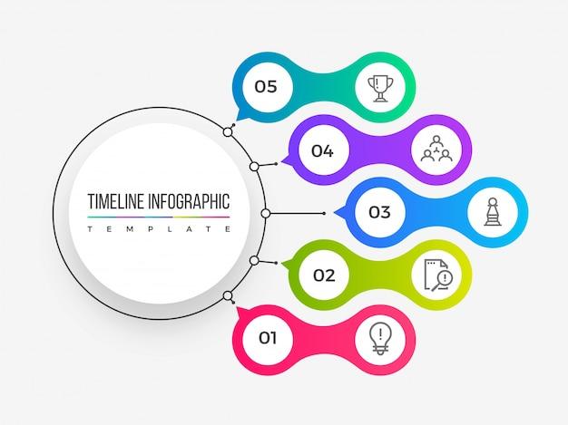 タイムラインインフォグラフィックスレイアウトは5つのステップで構成されています。