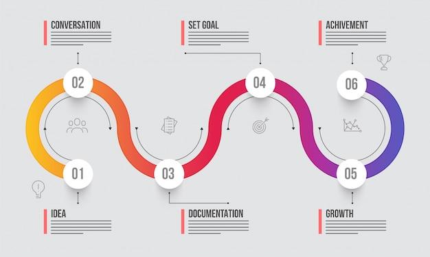 Временная шкала информационный макет с шестью (6) шагами.