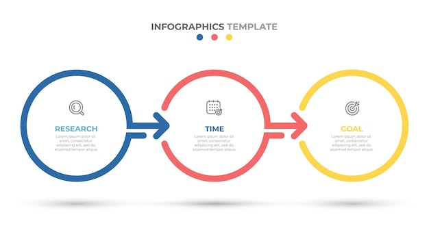 Timeline infographics template design with circles