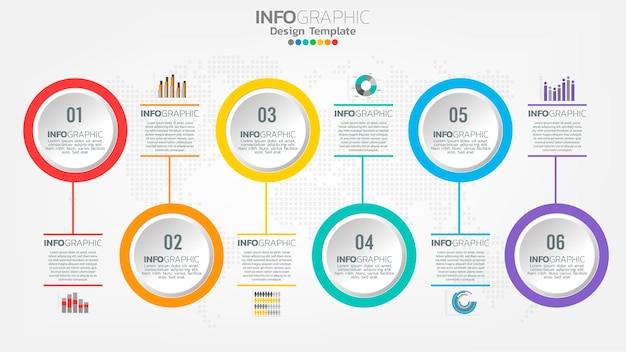 Шаблон инфографики временной шкалы с диаграммой рабочего процесса 6 элементов.