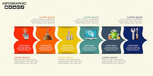 Timeline infographics template with 6 options