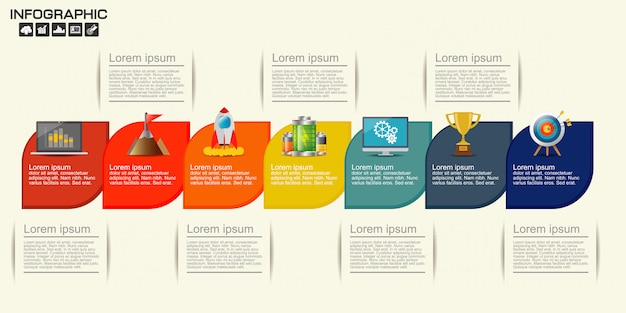 Timeline infographics template with 7 options
