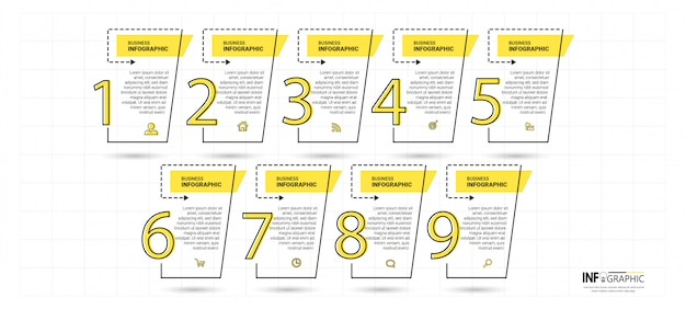 Timeline infographics template with 9 steps