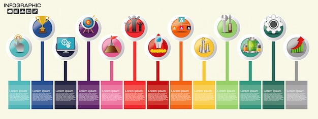 Timeline infographics template with options.