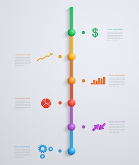 Timeline infographics template with stepwise structure