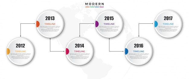 Timeline infographics template with year