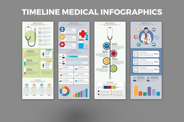 Хронология медицинской инфографики шаблон дизайна