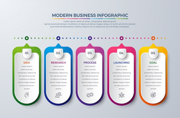 Timeline modern infographic with 5 process or steps