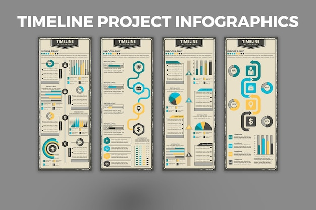 タイムラインプロジェクトのインフォグラフィックデザインテンプレート