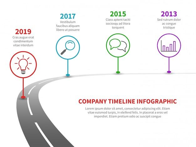 タイムライン道路インフォグラフィック。歴史的なマイルストーンを持つ成功ロードマップへの戦略プロセス。事業計画テンプレート