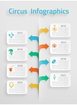 Timeline statistics  infographic vintage circus chapiteau clown tickets sale prognosis estimates layout presentation arrows chart