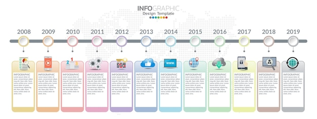 Timeline template with milestones in pastel colors.