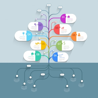 Timeline tree process history mindmap business infographics template