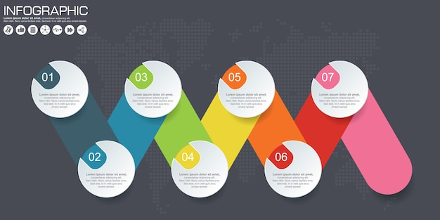 Timeline vector infographic. world map background