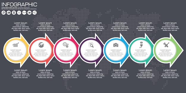 タイムラインベクトルインフォグラフィック。世界地図の背景