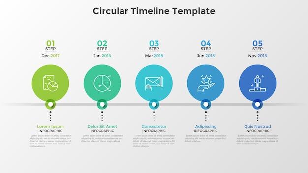 Временная шкала с 5 красочными круглыми элементами, расположенными в горизонтальном ряду, и индикацией даты. пять этапов развития компании. современный инфографический шаблон дизайна. векторная иллюстрация для презентации.