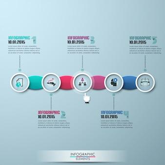 Современный бизнес кружок оригами стиль timeline шаблон