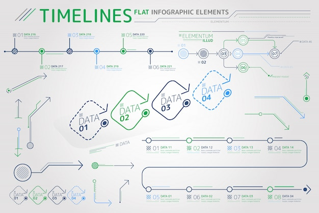 Timelines flat infographic elements