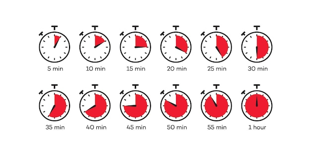 Timer icon vector set clock stopwatch isolated on white background cooking time label eps