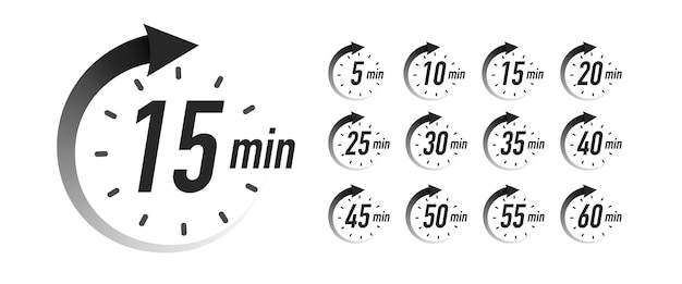 Набор векторных иконок таймер секундомер черного цвета, изолированные на белом фоне, время от до минут