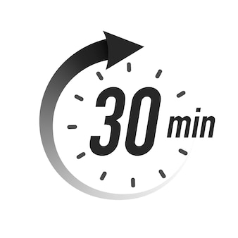 Timer minutes symbol black style isolated on white background clock stopwatch cooking time label