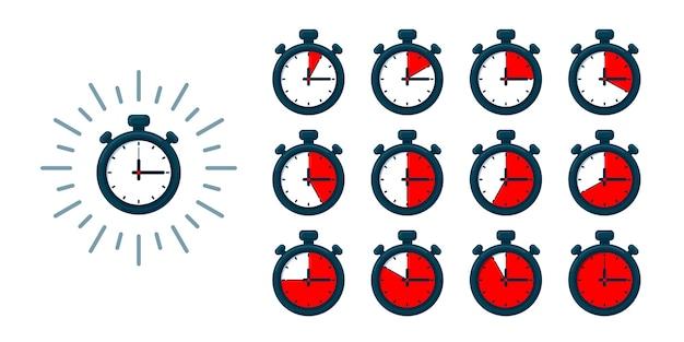 タイマーセット。ストップウォッチのイラスト-さまざまな時間の時計