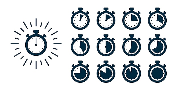 Timer set.  stopwatch illustration - clocks at different times