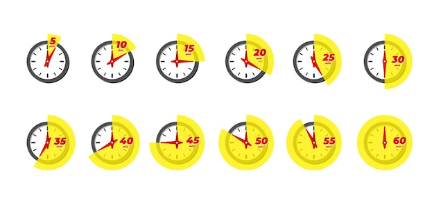 Timer and stopwatch icon set. kitchen cooking or fast express delivery time labels with different minutes. sport clock or deadline countdown vector isolated illustation