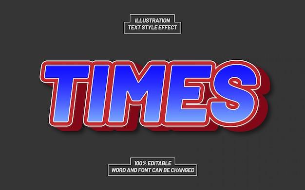 Эффект стиля красного и синего текста times