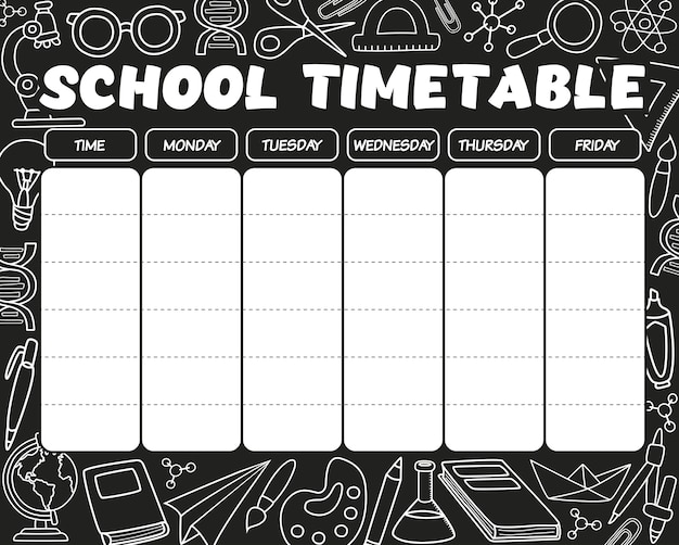 Timetable black and white
