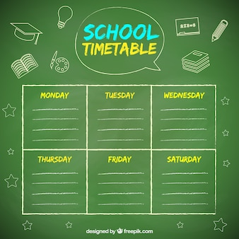 Timetable on the blackboard with chalk drawings