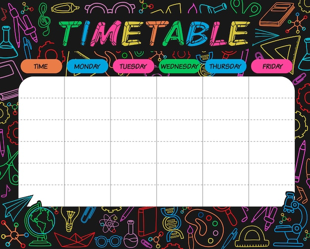 Timetable colorful
