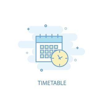 タイムテーブルラインのコンセプト。シンプルな線のアイコン、色付きのイラスト。時刻表シンボルフラットデザイン。 ui / uxに使用できます