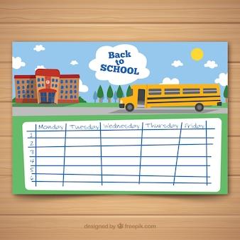 時刻表、学校の建物とバス