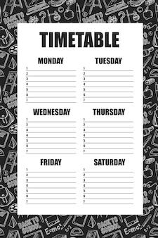 Timetable for school's lessons template