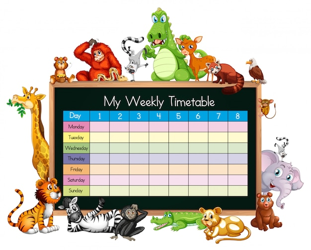 Timetable template with many animals