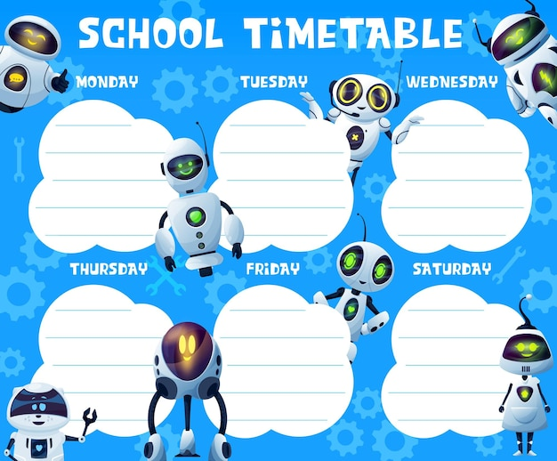 Timetable with androids and robots, school education vector schedule, timetable, weekly planner or study plan. student classes week chart with background of cartoon robots and gears