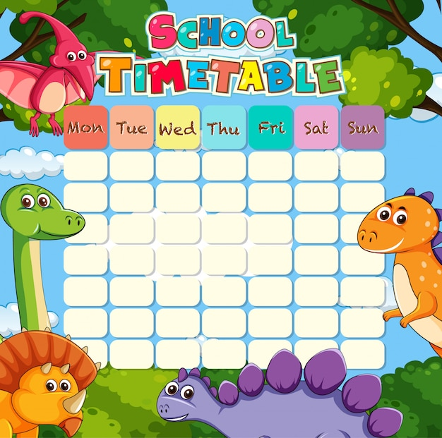 Timetable with dino