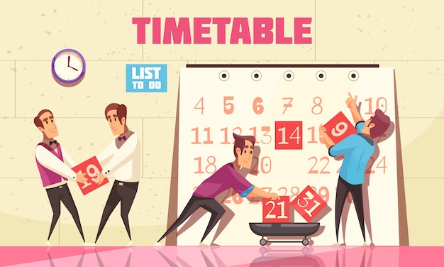 Timetable with people attracted to time management for planning work process