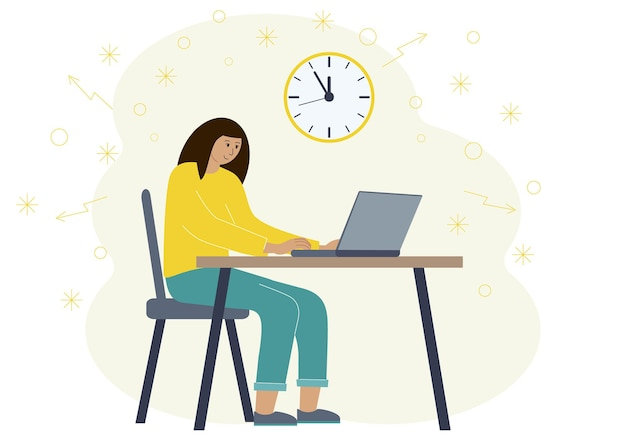 Timing concept in work or training. illustration of a woman in a workspace with a laptop