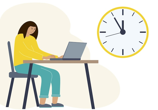 Timing concept in work or training. vector illustration of a woman in a workspace with a laptop