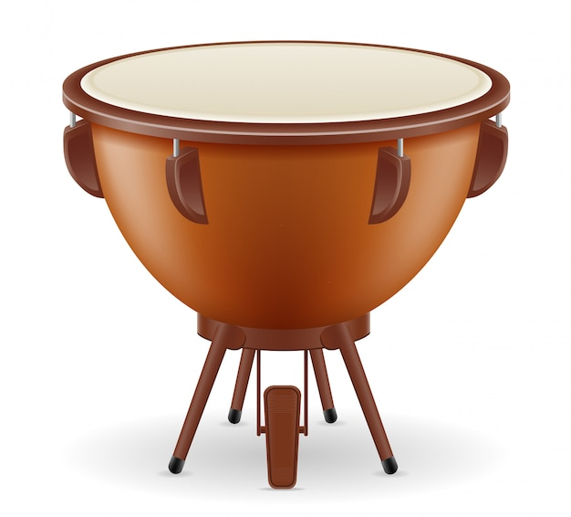 Timpani drum musical instruments stock vector illustration