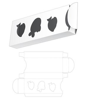魚の形をした窓のダイカットテンプレートと錫と長い箱