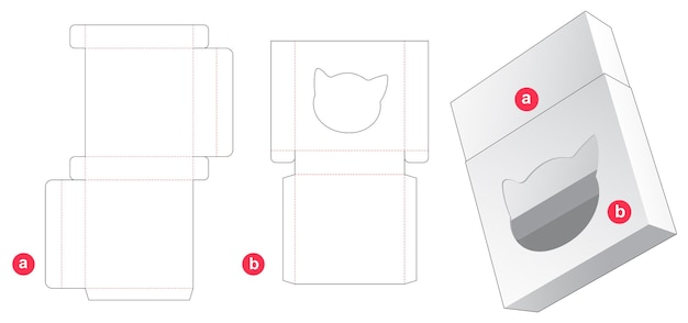 Tin box and cover which has cat shaped window die cut template